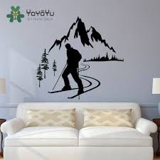 popular ski art buy cheap ski art lots from china ski art skier winter sports wall decals mountain skiing sports bedroom kids nursery wall art sticker fashion moutain