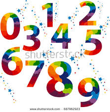 numbers painted by colorful splashes rainbow stock illustration
