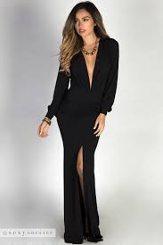 black maxi dress theda black plunging v sleeve maxi dress