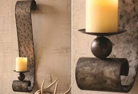 Rustic Candle Sconce Wall Sconce Ideas Galvanized Scrool Candle Sconce Wall Wonderful