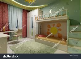 interior modern childs room 3d rendering stock illustration