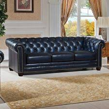 Blue Leather Sofa by Leather Chesterfield Sofa Ebay