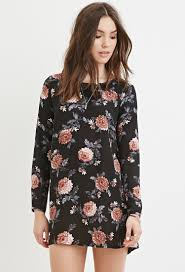 forever 21 floral smock dress in purple lyst
