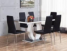 GIOVANI BlackWhite High Gloss Glass Dining Table Set And - Black kitchen table and chairs