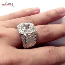 square set rings images Colorfish bezel set 2 5 carat halo square drill male engagement jpg