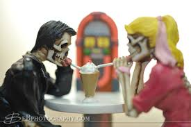 skeleton cake topper custom 1950s rockabilly malt shop skeleton wedding cake