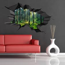 full colour woods forest trees jungle cracked wall art sticker picture