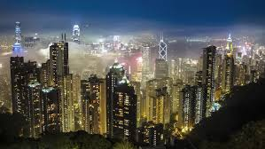 time lapse hong kong skyline from peak view at fog
