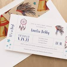 cowboys u0026 indians baby shower invites with envelope liners