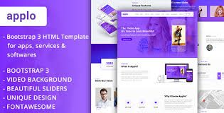 applo video background bootstrap 3 one page html template for