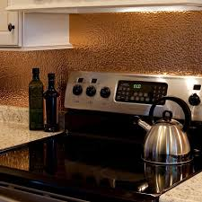 Copper Kitchen Backsplash by Fasade 18 In X 24 In Hammered Pvc Decorative Backsplash Panel In