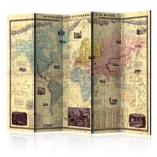 decorative photo folding screen wall room divider world map