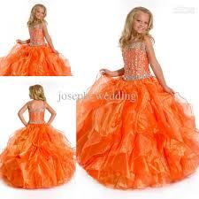 for sale fashion orange color kids floor length long organza