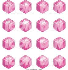 clip art of a set of sixteen pink cube icons of a microphone tv