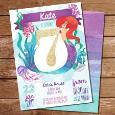watercolor mermaid birthday party invitation for a 7th