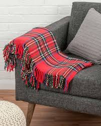 red tartan u0027wallace u0027 sofa and bed throw 130 x 170 cm homescapes