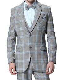 mens light gray 3 piece suit buy 3 piece light grey suit checkered suit for men on sale
