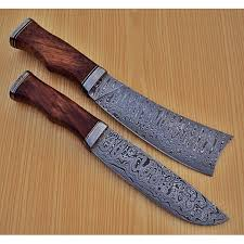 wood handle kitchen knives of 2 pcs damascus kitchen knife custom handmade damascus steel