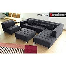 Black Microfiber Sectional Sofa With Chaise Amazon Com 4pc Modern Dark Grey Microfiber Sectional Sofa Chaise