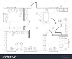 abstract vector plan onebedroom apartment kitchen stock vector