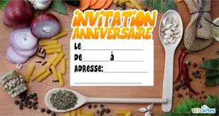 recettede cuisine invitation anniversaire la recette de cuisine 123 cartes