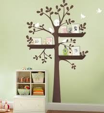 White Tree Wall Decal Nursery Shelving Tree Decal With Birds