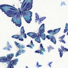white fabric with silver metallic blue butterfly fabric by