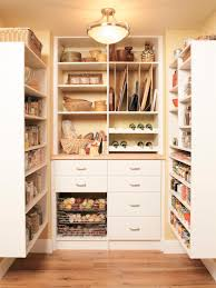 extraordinary white painted wooden kitchen pantry shelving design