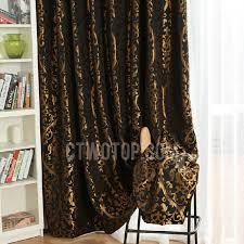 Black Gold Curtains Black Polyester Fabric Blackout Curtain Jacquard With Gold Cool