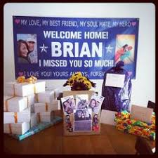 military welcome home decorations idea for when hubby comes home after being away relationship