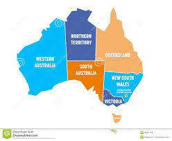 states australia map simplified map of australia divided into states and territories
