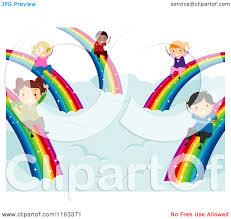 cartoon of happy diverse children sliding down rainbows royalty