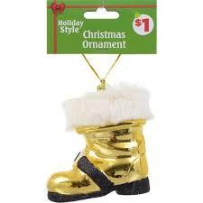 events gold santa boot ornament