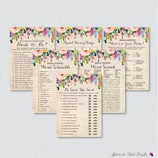 floral bridal shower games package with six games printable