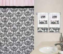 Pink Black And White Shower Curtain Black And White Damask Shower Curtain Pink For Decor