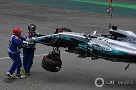 the crashed car of lewis hamilton mercedes benz f1 w08 is