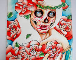 original painting watercolor sugar skull self portrait 5x7