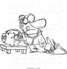 vector of a cartoon robber unlocking a piggy bank vault outlined