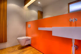 fluorescent tube wall with orange wall bathroom modern and modern
