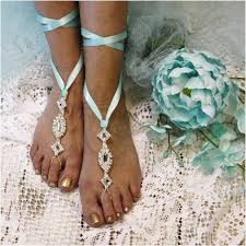 wedding barefoot sandals enchanted barefoot sandals blue wedding foot jewelry