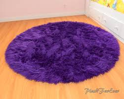 Pink Rug For Nursery Royal Purple Shaggy Round Area Rug Throw Decor Luxury Faux Fur