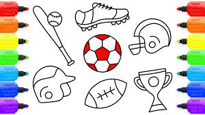 how to draw set for sport coloring pages football baseball