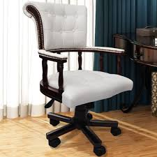 Wood Swivel Desk Chair by Chesterfield Captains Swivel Office Chair White Www Vidaxl Com Au