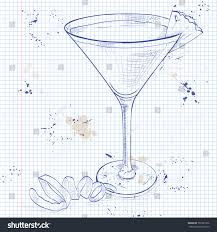 french martini french martini cocktail on notebook page stock illustration