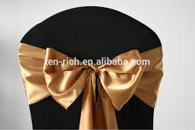 Cheap Chair Sashes Gold Fancy Vogue Satin Chair Sash Tie Back Bow Tie Knot Wedding