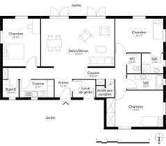 plan de maison 3 chambres salon plan maison 3 chambres et 2 salles de bain ooreka