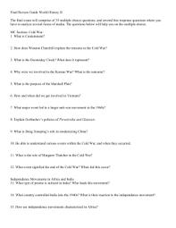 Final Exam Review Sheet   th Grade Modern World History studylib net