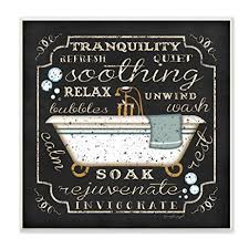 amazon com stupell home décor tranquility tub icon textual