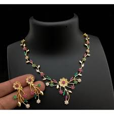 necklace with pink stone images Green pink stone necklace set online jpg