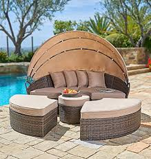 amazon com suncrown outdoor furniture wicker daybed with
